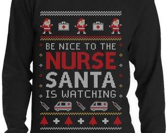 Nurse Ugly Christmas sweater Funny Xmas Gift for Nurses Long Sleeve T-Shirt