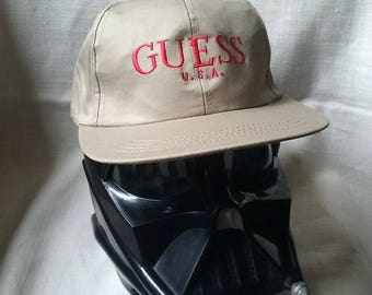 Vintage 90s GUESS snapback hat, cap, dad hat, low profile, khaki, tan, ball cap, GUESS jeans, strapback, hat