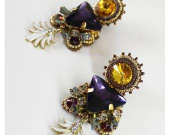 Exotic crystal earrings, multicolor fantasy earrings, statement earrings, summer jewelry, beaded dangle, chandelier earrings, dangle