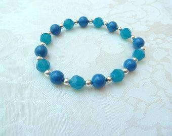 Swarovski Lapis Pearl Caribbean Blue Opal Stretch Bracelet- Swarovski Blue Opal Stretch Bracelet-Swarovski Bridesmaids Stretch Bracelet- 623