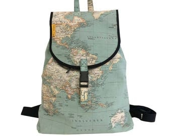 """Backpack fabric, backpack lapel """"world map"""", Backpack world map"""