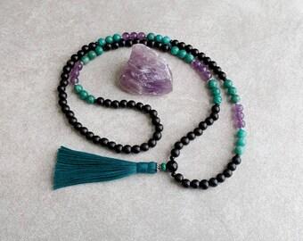 Mala Beads - Amethyst, Russian Amazonite and Ebony Wood - Meditation Necklace - Tassel Necklace - Healing Gift - 108 Bead Mala - Item # 728