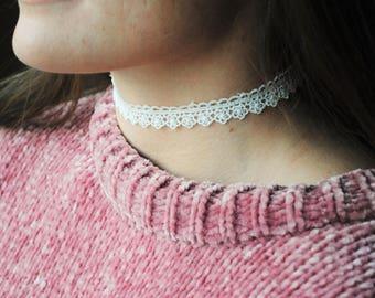 White Lace Choker | The Little Lace Choker | White | Handmade