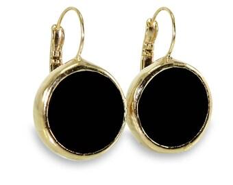 Black Onyx Drop Earrings, Gemstone Earrings, Dangle black Earrings Black and Gold Drop Earrings, Simple Everyday Dangle Earrings, Onyx.