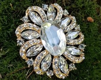 Large Gold Tone Rhinestone Flatback Embellishment or Pin Large Rhinestone Brooch Crystal Broach Big Clear Gold Brooch Pin DIY  GC12