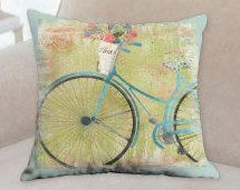 Blue Bicycle Designer Pillow