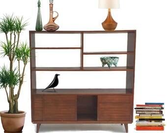 "Mid Century Modern Bookshelf Wood Etagere Wall Unit Room Divider Sliding Door Storage Bookcase Display Retro 42"" Eames Era Entryway Console"