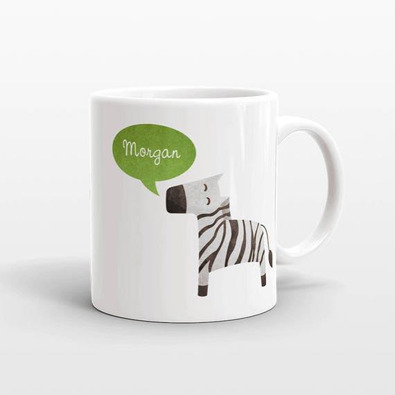 Custom Name Mug, Zebra Mug, Personalized Mug, Unique Coffee Mug, Office Mug, Best Friend Gift, Birthday Gift, Cute Animal Lover Gift