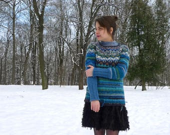 Handmade Icelandic style blue striped wool sweater with Icelandic pattern