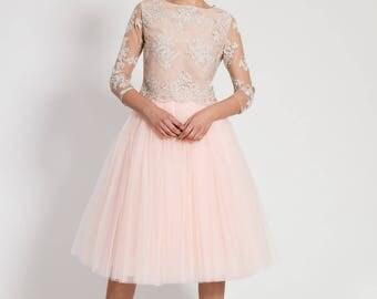 Tea-length tulle skirt - calf length tutu -  long petticoat - high quality tutu skirts - blush skirt - women's clothing - party skirt