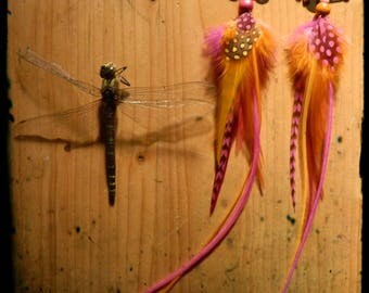 Long pair of feather earrings