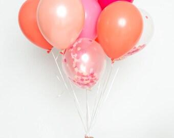 Confetti Balloon Set - Coral Crush - Pink, Blush, Coral, Bright Pink Confetti Balloon Bouquet - Coral Party Balloons