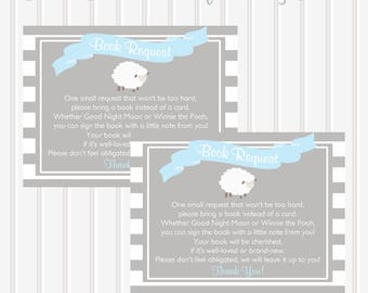 Little Lamb Books for Baby Cards/Book Request/Little Lamb Baby Shower/Baby Library/Lamb Theme/Printable/Instant Download/Boy/Blue and Gray