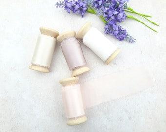 "Blush silk ribbon - hand dyed silk ribbon - 2"" wedding silk ribbon - 3 meters - ivory white"