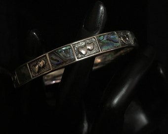 "Vintage ""M"" Abalone and Heart Bangle by Designer John Hardy (ABX1H)"