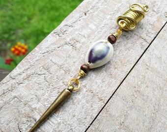 Cowrie Shell Loc Bead, Cowrie Dread Bead, Cowrie Shell, Cowrie Shell Hair Jewelry, Loc Jewelry, Dreadlock Bead, Dread Beads, Gold Loc Bead