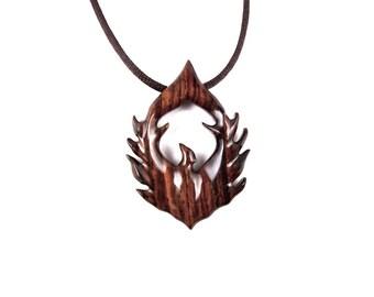 Phoenix Pendant, Phoenix Necklace, Phoenix Jewelry, Wood Phoenix Necklace, Firebird Necklace, Bird Necklace, Bird Jewelry, Wood Jewelry