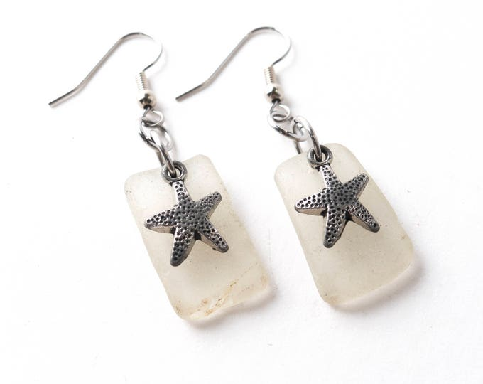 Rhode Island White Sea Glass Earrings with Antique Silver Starfish Charms with your choice of Stainless Steel or Sterling Silver Ear Wires