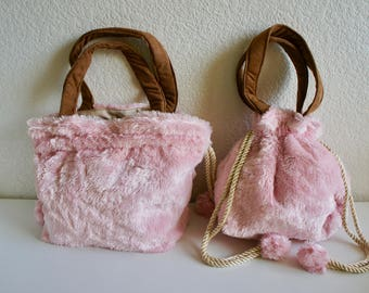 2 Ways Faux Fur Drawstring Bag