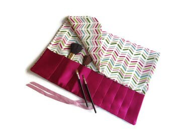Makeup Brush Roll Pink and Green Cosmetic Organizer Travel