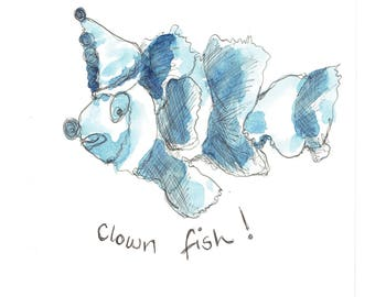 Clown Fish - Original pen and ink drawing by Tracy Evans for Port and Lemon