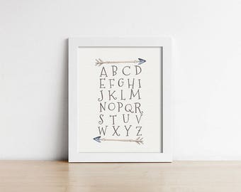 Woodland Nursery Alphabet Art Print - Rustic Nursery Decor - Woodland Nursery Art - Baby Shower Gift - Shipped Print - SKU:6004