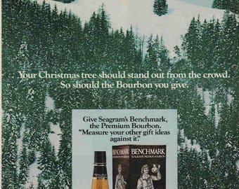 1976 Advertisement Seagram's Benchmark Premium Bourbon Retro Vintage Wall Art Decor Pub Bar Outdoors Nature Snow Christmas