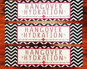 HANGOVER HYDRATION Sticker Label for Water Bottle | Custom Favor Gift Tag for Wedding, Shower, Bachelorette, Birthday Party, CHEERS!