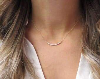 Diamond Bar Necklace, CZ Bar Necklace, Gold Bar Necklace, Curved CZ Bar, Curved Gold Bar, Short Gold Bar, Horizontal Bar Gold CZ