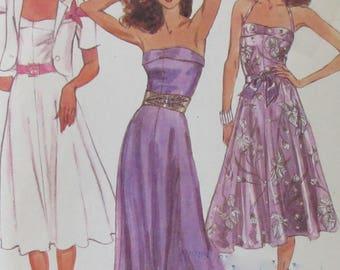 Vintage McCalls 1980's Misses Halter Dress and Jacket in Long or Short Length UNCUT Size 12 Bust 34
