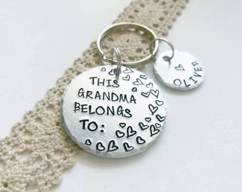 Grandma Gift Personalized, Granny Gift, Nan Keychain, Gift for Nanny, Mothers Day gift, this grandma belongs to, stocking stuffer,
