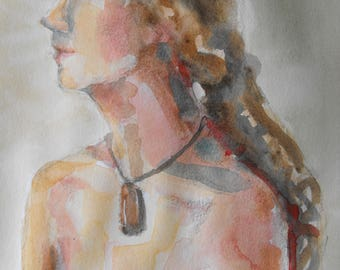 Original figure study, pencil sketch, watercolour washes, from life, female model, sitting, profile, front view, gesture, 11 X 14,Figure 101
