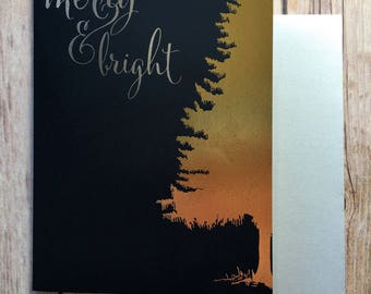 Merry & Bright Christmas Card Hand Foiled