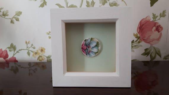 Vintage porcelain framed art.  Broken china.  Floral china. Floral porcelain.   Box frames.  7.5cm.  Handmade in Wales UK