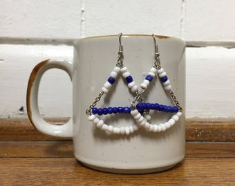 Blue and White Seed Bead Dangle Earrings