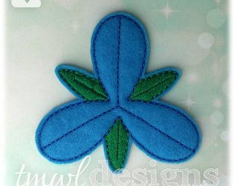 3 Petal Blue Troll Hair Flower OS Feltie Digital Design File