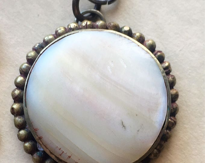 Mother of pearl necklace, vintage shell jewelry, boho pendant