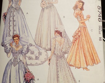 McCall's Bridal Wedding Gown Pattern #5746 Vintage 1992 by Alicyn Exclusives - Misses size 16 - ECS
