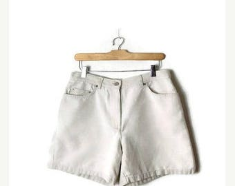 ON SALE Ralph Lauren Cream White/Light Beige  Cotton x Linen Shorts from 90's /W28*