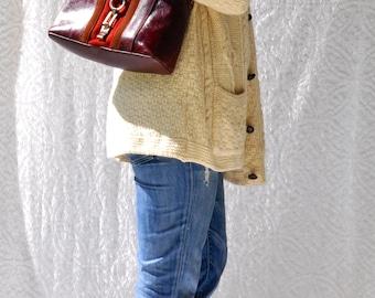 Vintage Etienne Aigner Handbag || Red Leather & Suede Shoulder Bag. Retro Leather Hand Bag. 1980s Etienne Aigner Purse. Boho Leather Purse