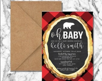 Buffalo plaid invitation (digital file)
