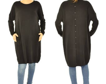 IM500SW sweater knit tunic long one size intervention bags Gr. M-XL Black Gr. 40 42 44 46