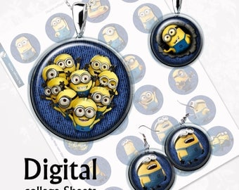 Funny Minions Bottlecap Digital Collage Sheet  1,5 inch, 1 inch, 15 mm Jewelry Supplies, Bottle Caps, Crafts, Scrapbooking