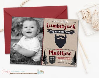 Lumberjack Birthday Invitation, Lumberjack Invitation, Buffalo Plaid Invitation, Lumber Jack Invitation, Boy Birthday Invitation
