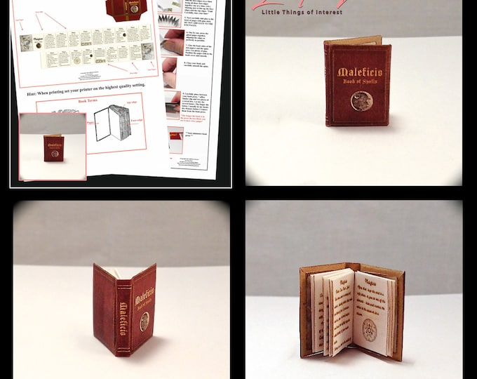 MALIFICO Magic SPELL Book PDF Tutorial Printie Printable Download 1:12 Miniature Dollhouse Scale Book Miniature Accessory Witch