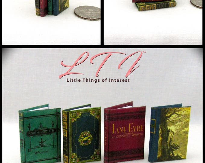 1:12 Scale MINIATURE VICTORIAN NOVELS Books (4) Illustrated Book Set North and South Vanity Fair Jane Eyre Withering Heights