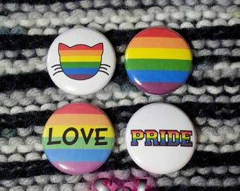 LGBT Rainbow Pride Buttons - Set of 4