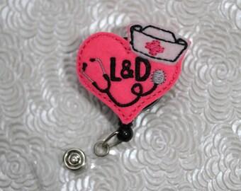 L&D badge holder - planner clip - nursing badge holder - paper clip  - badge reel - name badge holder - felt badge reel - nurse badge