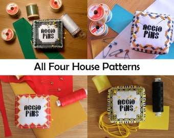 Four Houses Cross Stitch Pattern - 3d pin cushion tutorial, house pride pack