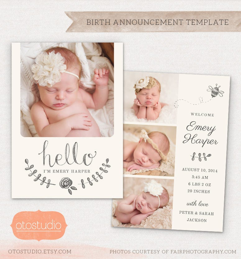 Birth Announcement Template Pencil Bee CB031 5x7 card – Birth Announcements Etsy